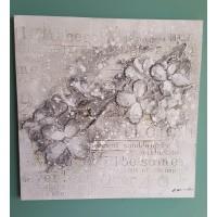 Schilderij reliëf Bloemen & Tekst
