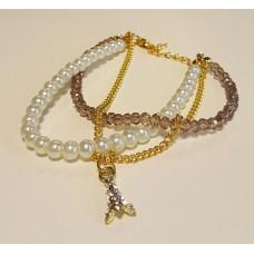 Ibiza armbandje crystal/parel  beige