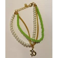 Ibiza armbandje crystal/parel licht groen