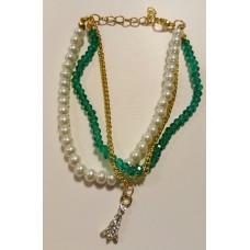 Ibiza armbandje crystal/parel smaragd groen
