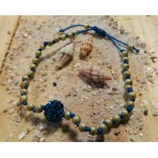 Ibiza armbandje met strass bolletje blue