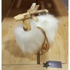 Decoratie Hert met vachtje wit