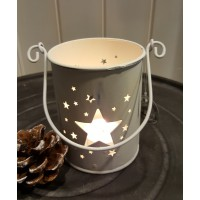 Long Island Living Metalen windlicht Star Off White