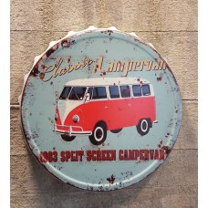 VW Classic Campervan Metalen kroonkurk  3D