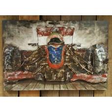 Metalen  3 D schilderij F1 Auto