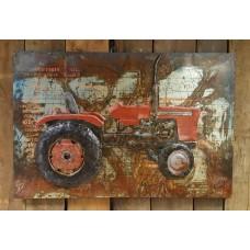 Metalen  3 D schilderij Tractor