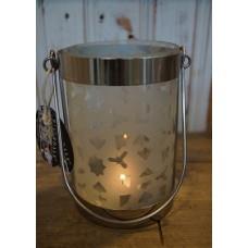 Windlichtje Riverdale zilver/glas