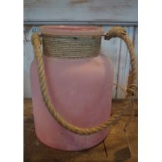 Sfeerlicht zacht roze met stoer touw
