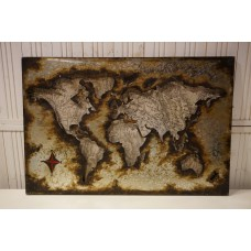 Wereldkaart Metalen 3 D schilderij