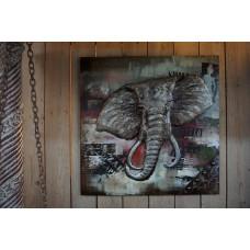 Metalen  3 D schilderij Olifant