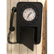 Zwarte wandklok telefoon van Countryfield